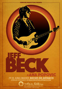 JEFF BECK / ANA POPOVIC 2018 MADRID, SPAIN CONCERT TOUR POSTER - Classic Rock