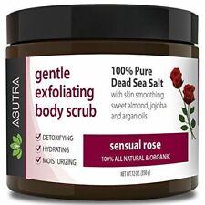 "ASUTRA Organic Exfoliating Body Scrub -""SENSUAL ROSE"" 100% Pure Dead Sea Salt"