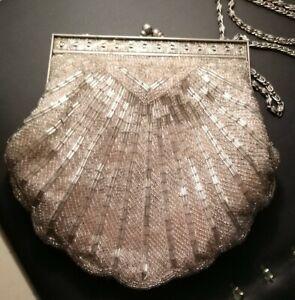 Vtg Cream Micro Glass Beaded Flapper Purse Art Deco circa 1920s Bag Handbag