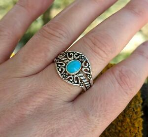 Carolyn Pollack Sterling Silver Turquoise Stacking Ring Set - UK Size T - Relios