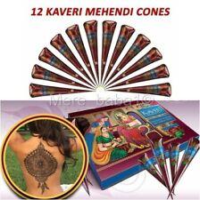 12 X New Fresh Quality Kaveri Natural Henna Mehndi Tattoo Pen Cone Darkest Brown