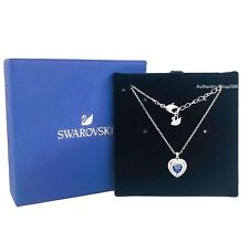 Authentic SWAROVSKI Rhodium Blue Sparkle Crystal One Pendant Necklace 5511541