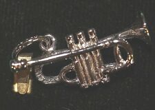 Sterling Silver Charm NEW but vintage NOS Trumpet Gold Plated