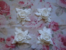 New! Shabby Chic XLG CARVED ROSE & LEAF CORNERS 4PC Pediment Furniture Applique