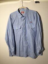 Vintage City Rail Mens Blue Button Shirt Size 46 Long Sleeve Train Collectors