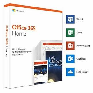 Microsoft Office 365 Home 6 Users 1 Year License Key 2020 Edition PC Mac iOS