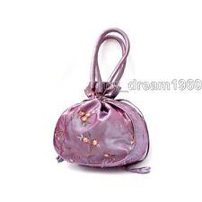 Women's Embroider Flower Handbags Silk Satin Jewelry Bag Wristlet Purse Lavender