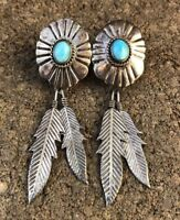 """Vtg Navajo Native American Sterling Silver Turquoise Feather 2 7/8"""" Earrings"""