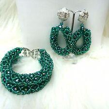 2 strati color foglia di tè verde compensate Personalizzato Braccialetto & Ear africano Bracciale Perline Fashion