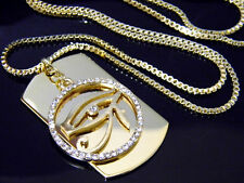 Box Chain Hip Hop Egyptian Eye of Horus Iced Out Necklace Pharaoh Pendant Dogtag