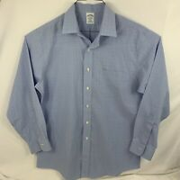 Brooks Brothers Men's Button Down Blue Plaid Long Sleeve Dress Shirt Size 16-33