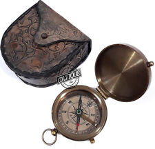 Valentine Gift Vintage Style Brass Antique Leather With Case Quote Compass