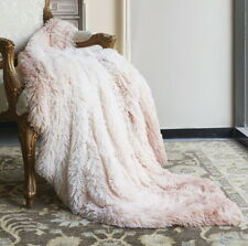 ULTRA BLUSH PINK FAUX FUR 50x60 SHAG THROW : OMBRE MICRO SUEDE GLAMOUR BLANKET