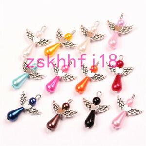 10 Mixed Dancing Angel Wings Charms Teardrop Beads Pendants DIY Jewelry 22x29mm