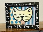 Romero Britto Autographed Card of Cat in Autographed Frame