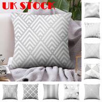 Scandi Boho Silver Grey Geometric Cushion Cover Pillow Case Home Sofa Car Decor