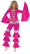 Dancing Queen Pink Top Trousers Belt Party Fancy Dress Halloween XXL Fun Shack