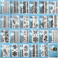 US SELLER- 10 sheets wholesale lot large black henna lace temporary tattoo