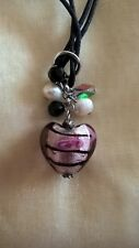 Black Heart Pendant with Charms Pearl & black crystal charms
