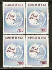 CHILE 1973 STAMP # 833 MNH BLOCK OF FOUR WINE