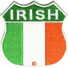 "(B6) IRELAND SHIELD FLAG 2.75"" iron on patch (1333) Irish Biker Vest"