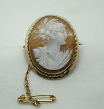 Antique Lovely 9ct Gold Mounted Carved Cameo Brooch