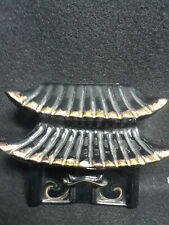 Black Pagoda With Gold Trim 1950's Ceramic Wall Pocket