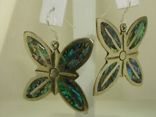 Inlay Butterfly Earrings! Signed To Large Vintage Mexico Aplaca Silver W/Abalone