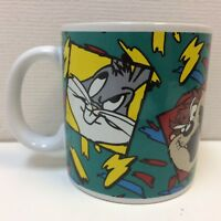 VTG‼ Colorful 1993 Looney Tunes Bugs Taz Sylvester Tweety Mug by Sakura • EUC‼