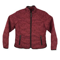 Womens Large Eddie Bauer Burgundy Premium Quilted Embroidered Goose Down Jacket