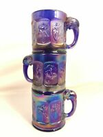 Imperial Glass Vintage Nursery Rhymes Carnival Elephant Handle Mug Lot Child Cup