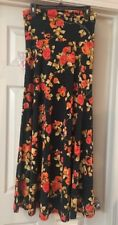 NWT LULAROE S Small Blue Background Orange Pink Floral Rose Maxi Skirt