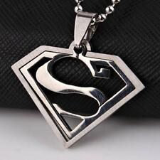 SUPERMAN NECKLACE 2 Piece Stainless Steel Pendant Comic Super Hero Jewelry Chain