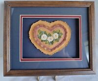 Handmade Paper Art by Barbara Rasa Original Heart Flower Wood Framed Matted Blue