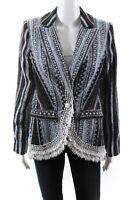 Badgley Mischka  Womens Beaded Tweed Coat Black Blue Size 6