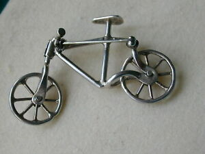 BICYCLE  HAND MADE STERLING  SILVER BROOCH  RARE