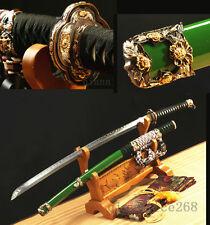 DAMASCUS FOLDED STEEL CLAY TEMPERED JAPANESE ARMAY SWORD KATANA COPPER TSUBA