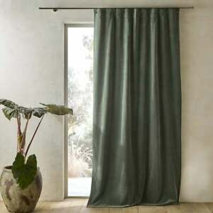 New Nyodhi Pair of Velvet Curtains Green 100% Cotton 220cm Small Eyelet & Hooks