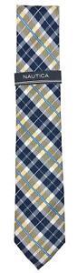 Nautica Men's Yellow/Navy Plaid Neck Tie - NEW