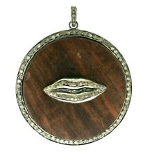 Natural Wood and Pave Diamond Lips Shape Pendant 925 Sterling Silver Jewelry