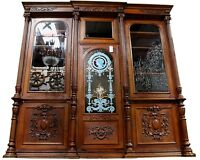 French Art Nouveau Quartersawn Oak Bookcase, Painted Panel-Beveled Glass c. 1918