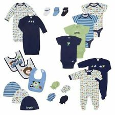 Newborn Baby Boy Clothing Set, 21-Piece Bibs Gowns Hats Mittens Body Suit Socks