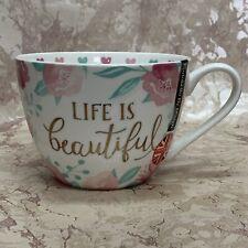 Portobello By Design Life Is Beautiful Large Coffee Tea Mug New!