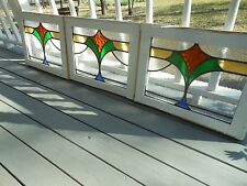 MA0337 Older Pattern Set of 3 English Multi-Color Leaded Stain Glass Windows
