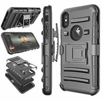 Armor Rugged Hybrid Kickstand Belt Clip phone Case Cover For Apple iPhone X 10