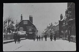 Vintage Postcard Photo West Street Havant England 1910 Snowy Scene  Post Office