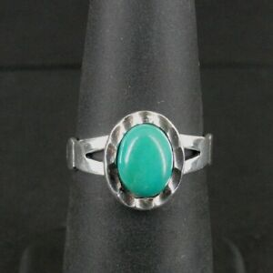 WM Co Ring Silver Turquoise Stone Vintage Sterling 925 Size 5 1/2 Band Ring