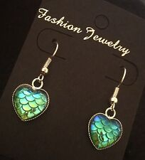 Mermaid Earrings Dragon Egg Game Of Thrones Little Ariel Scale Heart Blue Charm