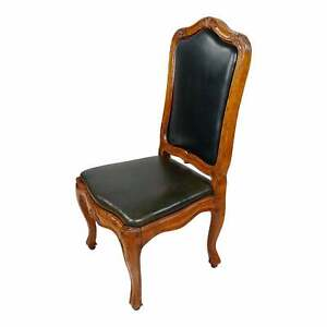 18th c. French Provincial Walnut & Leather upholstered Desk Chair