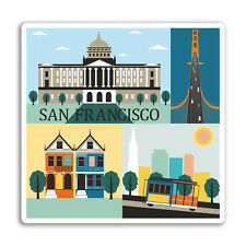 2 x San Francisco Vinyl Stickers - Car Van Tool Box Luggage Suitcase Gift #10925